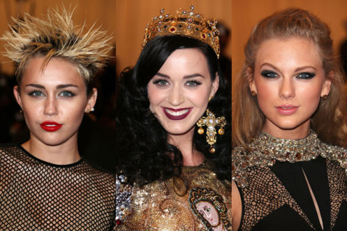 Our favorite celebrities rocked punk princess looks at the Met Ball. From Miley's spiky do to Taylor's bold smoky eyes, see our 12 favorite beauty looks of the night »