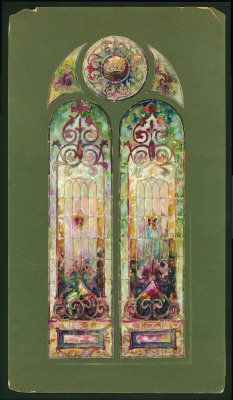 We love this colorfulwatercolor design for a stained glass window featuring a crown and fleur de lismotifs!   933[watercolor design for stained glass window] [art original], Booth's ArtStained Glass Works, Buffalo, NY, 1890-1910. CMGL 123695.
