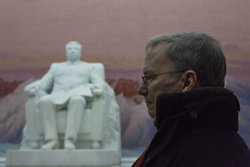 looking at a statue of the late North Korean leader Kim Il Sung