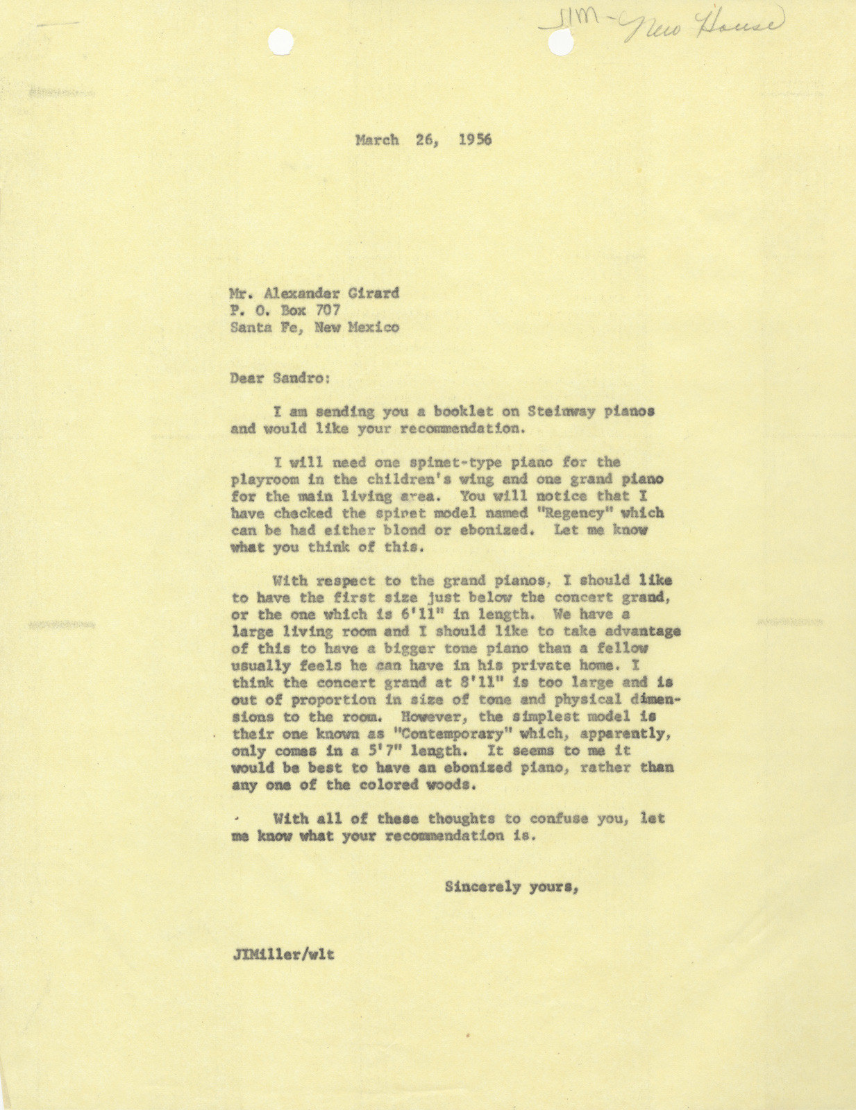 "As the Millers planned their new home, Irwin Miller wrote to Girard about selecting pianos for both the living room and the children's playroom. He writes, ""We have a large living room and I should like to take advantage of this to have a bigger tone piano than a fellow usually feels he can have in his private home."" J. Irwin Miller to Alexander H. Girard, 26 March 1956, 1/6, Miller House and Garden Collection, IMA Archives, Indianapolis, Museum of Art, Indianapolis, Indiana. (MHG_Ia_B001_f006_050)"
