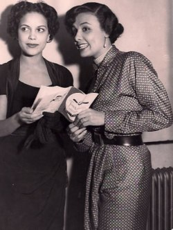 vintageblackglamour:  Hilda Simms and Lena Horne in the late 1940s. It drives me crazy that I have not been able to find a legitimate source/photographer behind this photo. It's one thing to find it on a random website (like I did last year) but it's another thing to share it and properly credit it for a wider audience. Sigh…