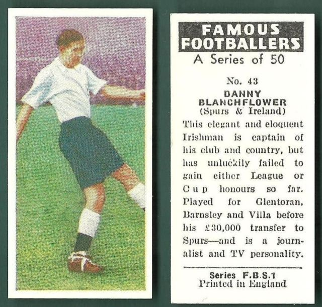 "pitchinvasion:  This card was produced in 1961, and its biographical sketch was very quickly out-of-date: that season, Northern Ireland's Danny Blanchflower captained Tottenham Hotspur to an infamous double of League and FA Cup titles. Two years later, Blanchflower and Spurs became the first British team to win a European title, the European Cup Winners' Cup, which they'd qualified for by repeating as FA Cup winners in 1962. Blanchflower's most remembered quote, though, suggested he cared less about honors, and more about playing the game the right way:  ""The great fallacy is that the game is first and last about winning. It is nothing of the kind. The game is about glory, it is about doing things in style and with a flourish, about going out and beating the other lot, not waiting for them to die of boredom."""