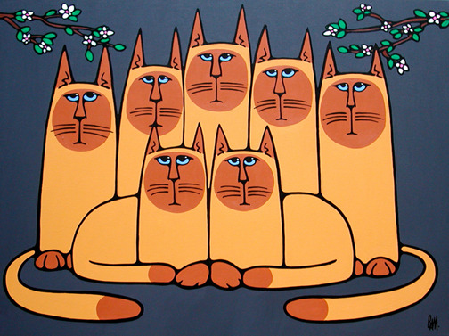 "The Seven Siamese - 40"" x 30"" acrylic on canvas - SOLD"