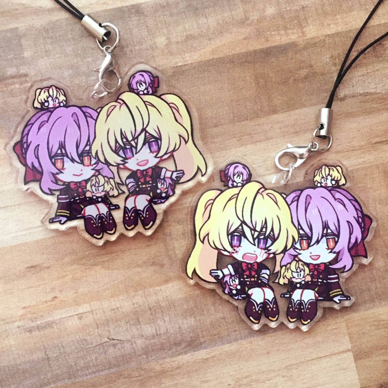 "CHARMS HEREEE— & added to store, link in bio ∠( ᐛ 」∠)_ I'll have GureShin & some E7 in my next order. The general time estimate is vague but the next time Zap has a sale on clear charms + 2 months for production and delivery :'D I SAID BEFORE I'D ASK, SO NOW I ASK— Would anyone be interested in yuunoa or yuuyoi charms? Please let me know. I have 1 desperate yuuyoi person who would ""buy my whole stock of yuuyoi"" if they had to, quoting their words— and I felt that asdfghjk.  #owari no seraph  #seraph of the end #mitsunoa #tales of the abyss #anise tatlin#shinoa hiiragi#mitsuba sangu#berusona#beru merch #but also actual beru as merch  #no idea why ud want me  #but i exist"