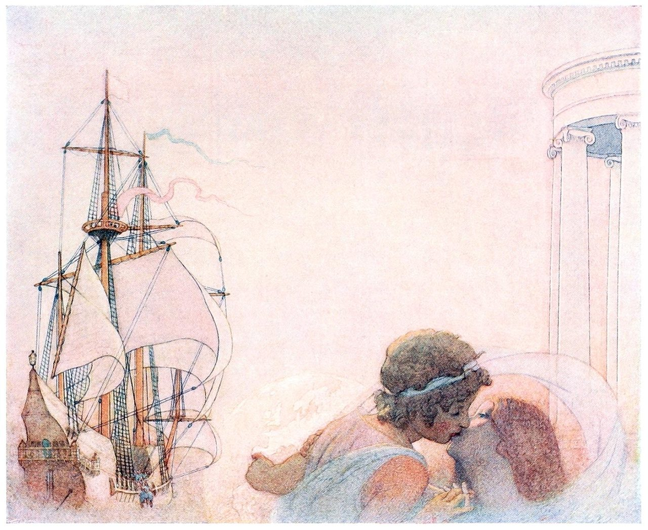 oldbookillustrations:  The farewell of the lovers.  Frederick Cayley Robinson, from The blue bird, by  Maurice Maeterlinck, New York, 1920.  (Source: archive.org)  Things I want painted on the inside of my eyelids…