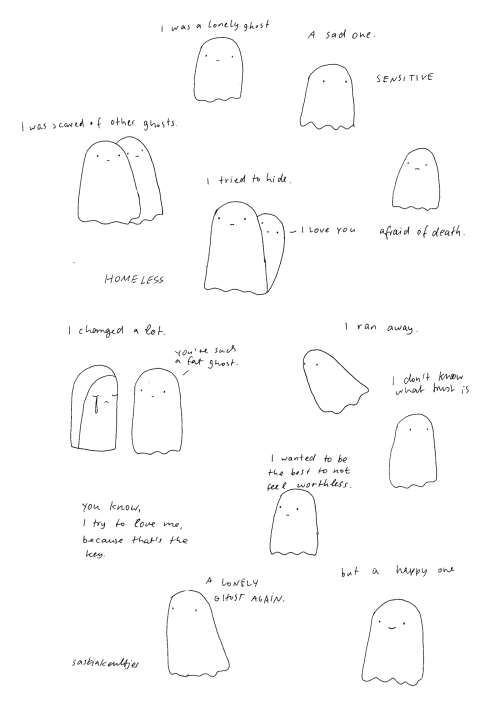 Today: I am a lonely ghost a mood comic from my sketchbook by Saskia Keultjes facebook shop  zoom here