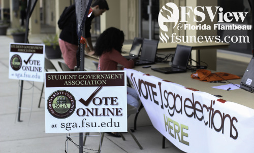 Students vote on SGA election day on Wednesday, February 27, 2013.