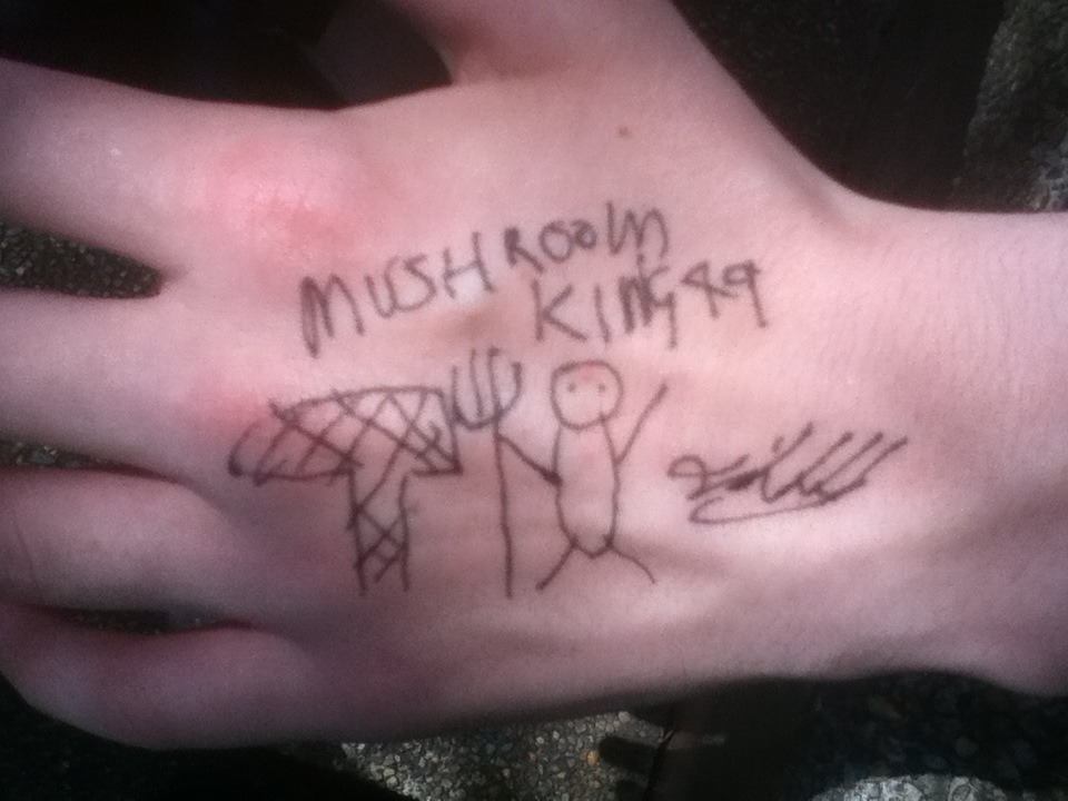 """Mushroom King 49"". Pen on human hand, 1691. Donated by His Royal Highness Mushroom King."