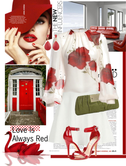 Fresh In Red by pantherstyle featuring a winter white skirt ❤ liked on Polyvore