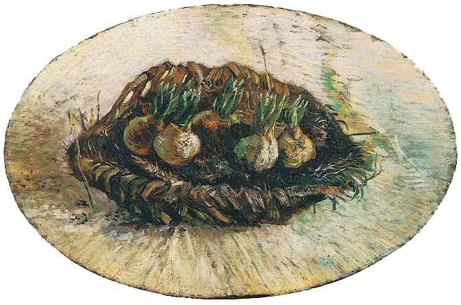 Vincent van Gogh, Basket of Sprouting Bulbs Oil on panel (oval) 31.5 x 48.0 cm. Paris: March-April, 1887 Amsterdam: Van Gogh Museum
