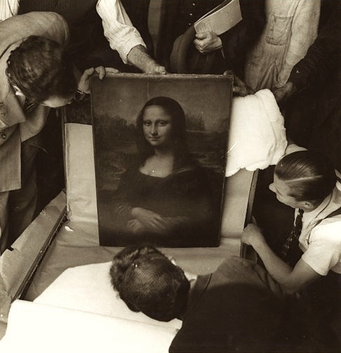 The Mona Lisa during World War II   She was packed up and moved out of the Louvre before the Germans arrived and was subsequently moved five times to avoid being looted.