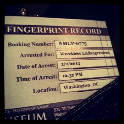 Not surprised. #Arrest #crime #punishment #museum #fingerprint #DC #sadbuttrue (at National Museum of Crime & Punishment)
