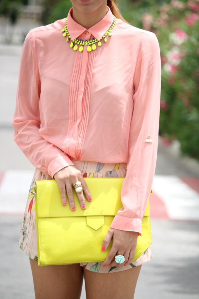 Neon clutch. Casual and fun.