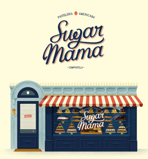 Sugar Mama Identity Logo design, graphic design and numerous illustrations by David Sierra for the Sugar Mama identity, stationery and website. Sugar Mama is an American pattisserie located in Santiago de compostela, Spain. More graphic design inspiration on WE AND THE COLORWATC//Facebook//Twitter//Google+//Pinterest
