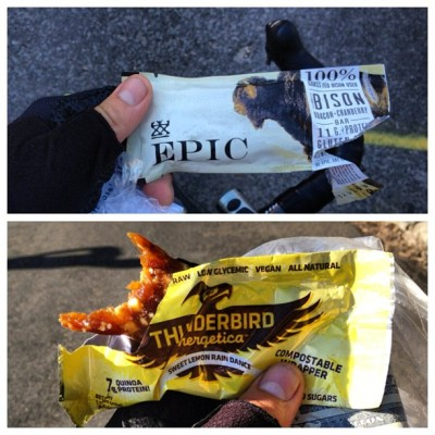 Yesterday's #NYC #Grimpeur ride fuel: @EPICBar in Harlem & @ThunderbirdBar on #RiverRoad in Jerz. #Tasty #RealFood #BikeNYC #cycling #rideyourbike #drinkgreatcoffee #tycrgr13