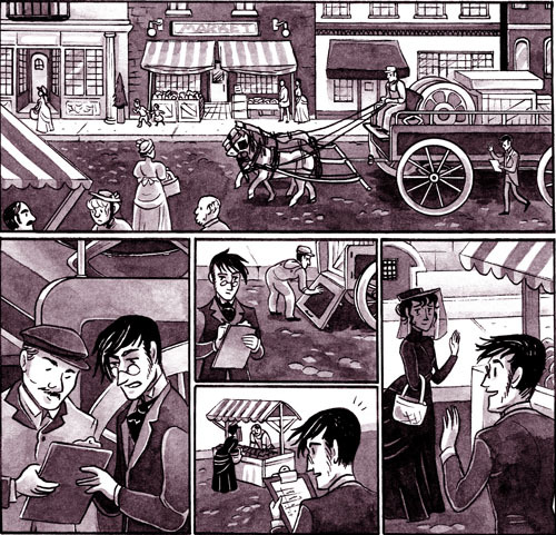 "Two new pages of Chester 5000: Isabelle and George: http://jessfink.com/Chester5000XYV/?p=505 ""A widow was supposed to wear mourning for two years and was not supposed to enter society for twelve months."" Basically you weren't supposed to be very social or wear anything other than very simple black outfits and dark crepe for about a year. The rules were harder on women than men, and some people were stricter about these customs than others. More info about Victorian mourning dress and the etiquette it involved: http://en.wikipedia.org/wiki/Mourning"