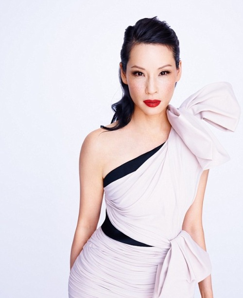 Lucy Liu wearing a dress by Lanvin