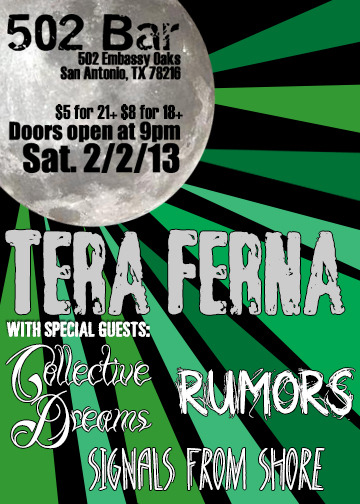 Saturday, February 2nd, 2013 at 502 Bar in San Antonio, TX Tera Ferna on Facebook