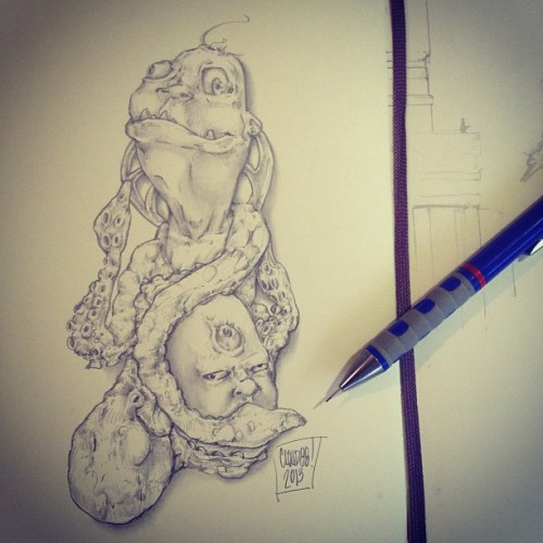 Hello. Octo-hug. #sketch #draw #drawing #moleskine #pencil #pen #graphite #igdraws #igart #igers #octopus