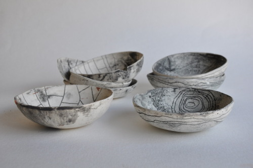 half light honey studio. unglazed wabi sabi landmark bowls.