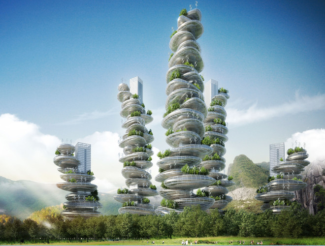 "These ""Farmscrapers"" Are Entire Cities In Crazy, Wobbly Looking Towers 