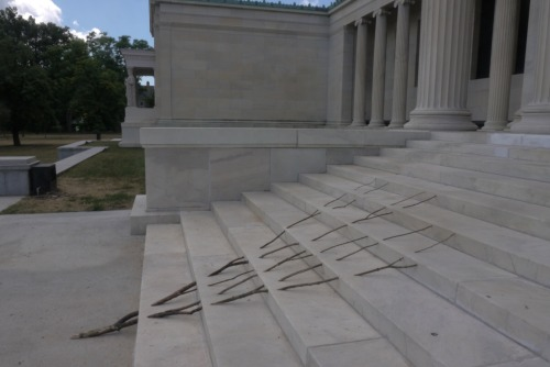 albrightknox:   Andy Goldsworthy, a Mini-series: Ephemeral Work Today we continue our mini-series about Andy Goldsworthy's works, leading up to his visit and talk on May 15. During the artist's July 2012 visit to the Albright-Knox, when he created one of the Rain Shadows pictured in a previous post, he also created and photographed this ephemeral work on the Delaware Stairs, exemplifying the beautiful simplicity of many of his works. Join us for a rare opportunity to hear Goldsworthy talk about his work on Wednesday, May 15, at 7:30 pm. Tickets are $10 for Members, $20 for non-members, and $15 for students and seniors. Learn More and Buy Tickets Image © Andy Goldsworthy