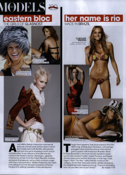 "US Vogue September 2012 ""her name is rio; Made in Brazil"" ft. Caroline Trentini,Raquel Zimmerman and Gisele Bundchen."