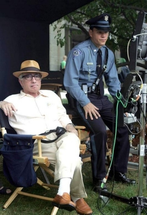 brothertedd:  Matt Damon and Martin Scorsese on the set of The Departed.