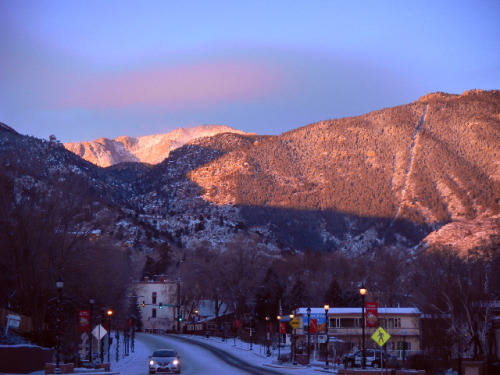Sunrise over Manitou Springs after several days of below-freezing temperatures.