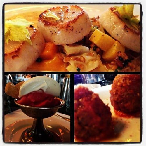 today's lunch w/ @cyschaefer: lamb #meatballs & #scallops! dessert: vanilla bourbon gelati and cranberry & blood orange prosecco sorbettis!! #restaurantweek #latergram #nom #piedmontphoodie  (at Locanda Verde)