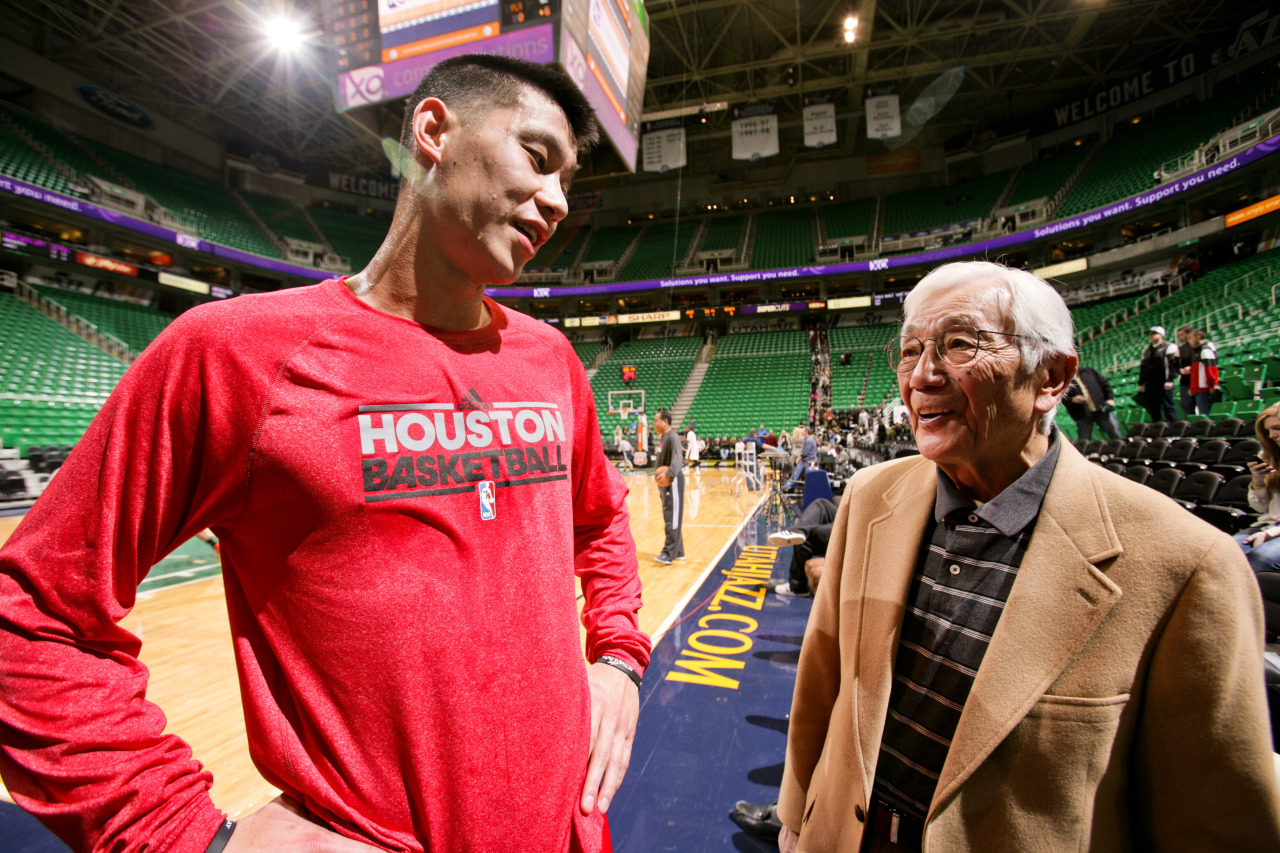 nba:  Jeremy Lin of the Houston Rockets speaks with Wataru Misaka, the first NBA player of Asian descent, before his game against the Utah Jazz at Energy Solutions Arena on January 28, 2013 in Salt Lake City, Utah. (Photo by Melissa Majchrzak/NBAE via Getty Images)  In other Jeremy Lin and Utah news: The documentary Linsanity premiered at the Sundance Film Festival last weekend, followed by a Q&A with Jeremy himself. The film is still currently looking to raise distribution money through their Kickstarter, which ends Feb 15th.  I suppose it would be unlike Jeremy to fund his own movie about himself that he didn't want to be made in the first place, but I mean what's $30k to the $5mil he'll be making this year?