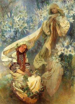 lonequixote:  Madonna of the Lilies, 1905 ~ Alphonse Mucha