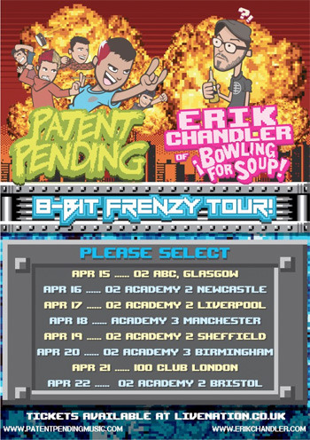 valderie:  UK friends! You can enter to win VIP access to Patent Pending & Erik Chandler next month when they return to your lovely part of the world. What's VIP access include? Meet & Greet for you and a friend Goodie bags Early entry Click here to find out how to enter. Either way, Patent Pending are fantastic guys I've known for 10 years now (wow, we're old…) so please go give them another warm welcome! You can buy yourself a regular ticket here for £12. Talk about LOST and pizza with them and you'll be besties :)