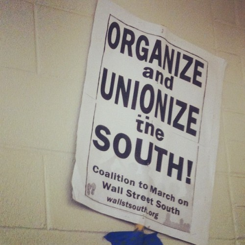 people's power assembly using march on wall st south posters. #organize #unionize. werk.
