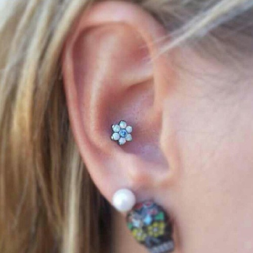 A flower with white opals in this conch piercing by Jared Silverman of [Born This Way Body Arts - Knoxville, TN]