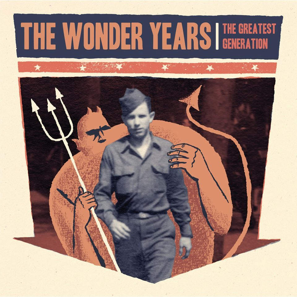 "The Wonder Years - The Greatest Generation Today Philadelphia's The Wonder Years released their fourth full length album, The Greatest Generation. To celebrate the release over the weekend The Wonder Years embarked on a 24 hour record release tour which made stops in their hometown of Philadelphia, New York City, Chicago, and Anaheim. After listening to this album and attending one of the record release shows, I do admit they have a lot to celebrate for making a sound mesh that is appealing to fans new and old.  The album opens with ""There, There"" which starts off as a slower track but kicks into a pop punk explosion as soon as the second chorus starts. Right away from listening to the first song I could tell this album was going to be different from anything they have ever released musically, however it was refreshing to see frontman Dan ""Soupy"" Campbell's song writing had not changed much when he cried ""I'm awkward and nervous"" which is one of the ongoing themes in The Wonder Years' lyrics. The second track ""Passing Through A Screen Door"" was the first song the band released from the album which almost sounds like it could be a B-Side to Suburbia. ""Dismantling Summer"" and ""The Bastards, The Vultures, The Wolves"" were the second two songs released by The Wonder Years before they started streaming their album online. ""Dismantling Summer"" which Campbell admits is a song he wrote about his Grandfather is probably one of the most personal songs ever put out by the band. ""The Devil In My Bloodstream"" and ""Cul-de-sac"" are my two favorite tracks off the album. ""The Devil In My Bloodstream"" starts off with Campbell singing over a keyboard riff with guitar and drums slowly building into the song, it is also accompanied with vocals by Laura Stevenson. The song takes a turn when the lyrics ""I bet I'd be a fucking coward"" are screamed out. ""Cul-de-sac"" which is one of the faster, heavier songs on the album fades out perfectly into the closing track. The album finally finishes with ""I Just Want to Sell Out My Funeral"" which is the longest song The Wonder Years have ever written at a time duration of seven minutes and thirty-five seconds. The song perfectly represents The Greatest Generation and even borrows lyrics from songs through out the album which in my opinion helps the song not drag on. Overall I highly enjoyed the album and I feel that it has successfully filled fans voids of wanting more. Make sure to see The Wonder Years this summer on the main stage at the Vans' Warped Tour to hear songs from The Greatest Generation yourself. 4.5/5 Jenna"