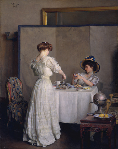 le-desir-de-lautre: William McGregor Paxton (American, 1869-1941), Tea Leaves, 1909, oil on canvas, 91.6 x 71.9 cm