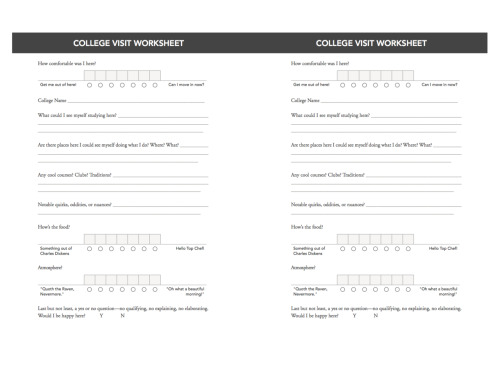 Fill out this worksheet as your visit schools!