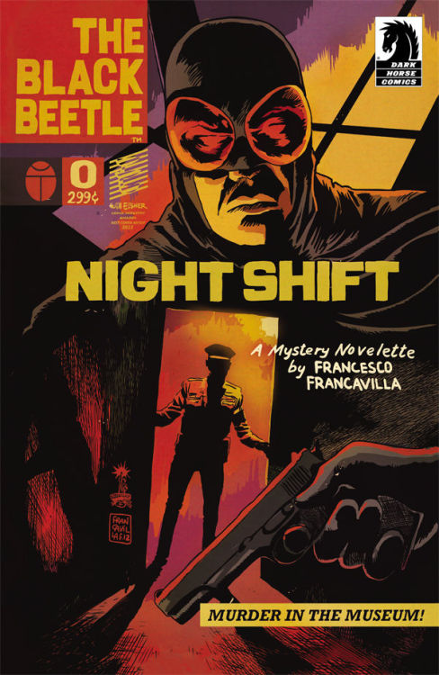 GO: THE BLACK BEETLE — NIGHT SHIFT The Black Beetle is Francesco Francavilla's love letter to the pulp fiction serials of the 30s and 40s. Francavilla is pulling out all the stops to really capture the finer points of the pulp design language, both for the cover designs and the related promo material to create a fully realised design language that is flexible but immediately recognisable.