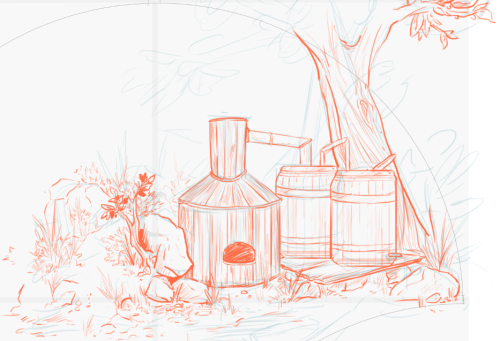 A WIP shot of part of a toile pattern I'm making. Here is a good ol moonshine still.