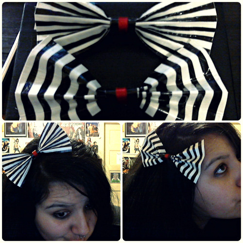 "So I showed up to work last night with one of the bows I'd made the night before. (Not pictured) Two of my co-workers immediately wanted to have the one I was wearing. But seeing as the one I had made was (honestly) pretty crappy because it was my first trial run, I didn't want them to have one that looked so lame. So I told them I'd just make them some.  I made two variants so I'm just gonna let them each pick whichever one they want.  Oh, did I mention these were made with just duct tape? Yup~  Taking advantage of my brains new-found ""MUST MAKE ALL THE THINGS WE'VE BEEN TOO LAZY TO MAKE FOREVER"" mindset so I'm gonna work on some other non-duct tape ones when I have a day off."