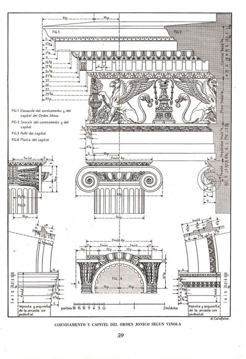 Entablature and  Capital Ionic Order Classic Architecture  Art Vintage Print 1948 at CarambasVintage http://etsy.me/14WBaAC