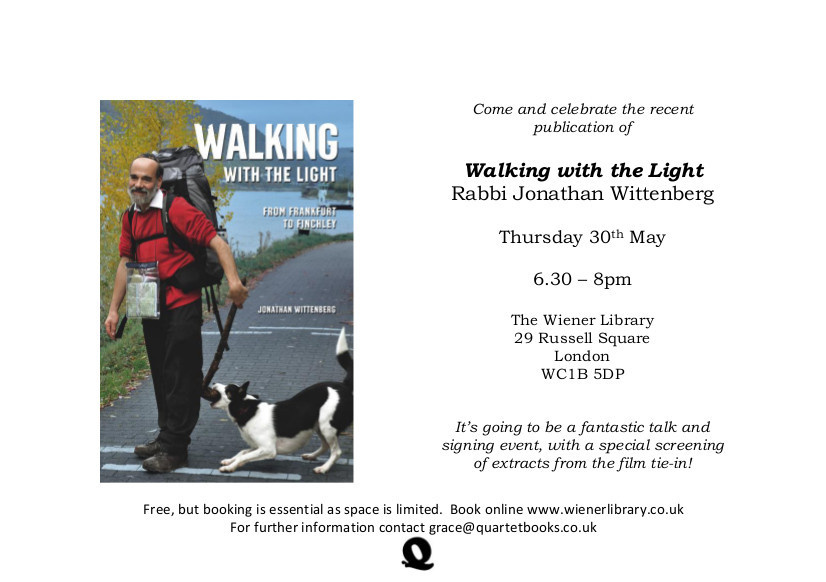 Come and celebrate the publication of Walking with the Light at The Wiener Library on Thursday 30th May!