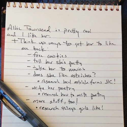 brianjanosch:  I jot a lot of notes on the train. Today's topic: @allie_townsend  Well, golly.