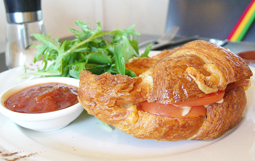 Croissant with Cheese and Tomato