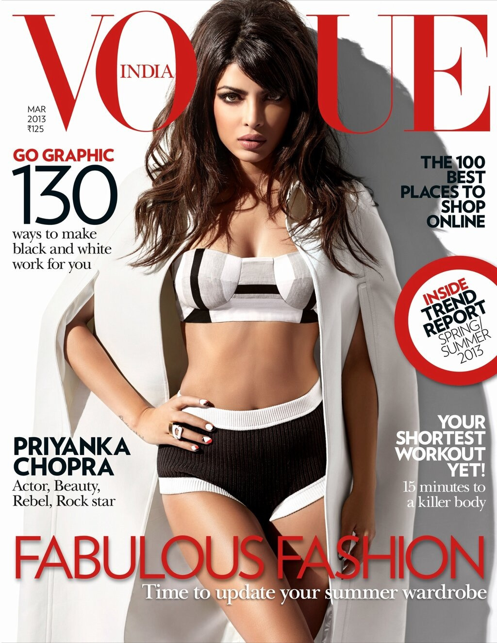 chopra-priyankachopra:  How hot does she look!! Priyanka Chopra is Vogue India's March cover girl!!
