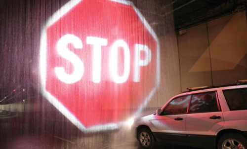 laughingsquid:  Softstop Barrier System Projects Giant Stop Sign on a Curtain of Water to Stop Motorists in Emergency  i love this…