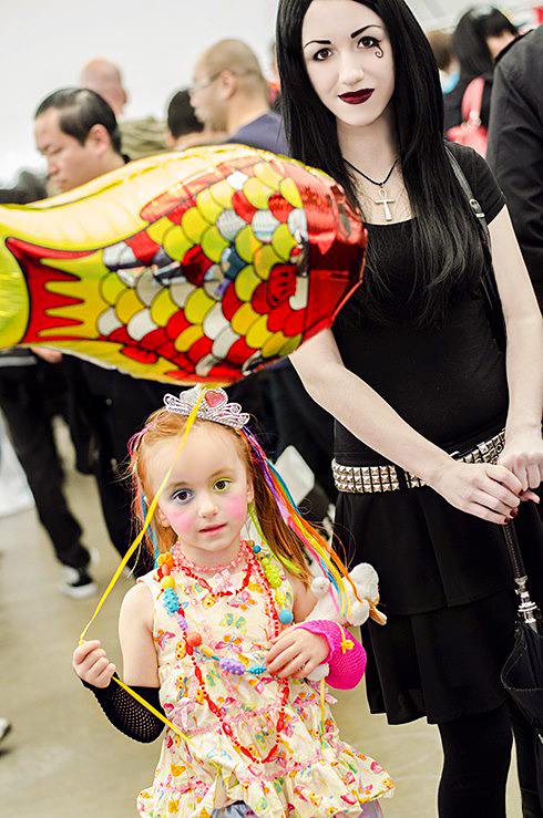 "neil-gaiman:  dezi-desire:  My daughter Helena as Delirium and myself as Death from Sandman at Vancouver Fan Expo! I've cosplayed for years, so my daughter has grown up seeing me in all kinds of costumes, but outside of Halloween stuff hadn't taken much interest in dressing up herself so I never pushed the idea of cosplaying on her. Some of her favorite books in her collection are the little endless books about Deliriums adventures, she's even shown them off at show and tell at school. So I'd been talking to her about this upcoming con I was going to and working at and she excitedly asked me if she could dress up as Delirium and have me go with her as Death. I was beyond excited at her request and quickly whipped these costumes up for us! Was so fun having her along with me and she really loved coming with me to a con for the first time. It was also awesome having her be the one who wanted to do the costume as she was in character the whole time introducing herself as Delirium and singing about her fishy balloon, even had her stuffed dog ""Maribelle"" cosplay with her as Barnabas.  You have no idea how happy this makes me."