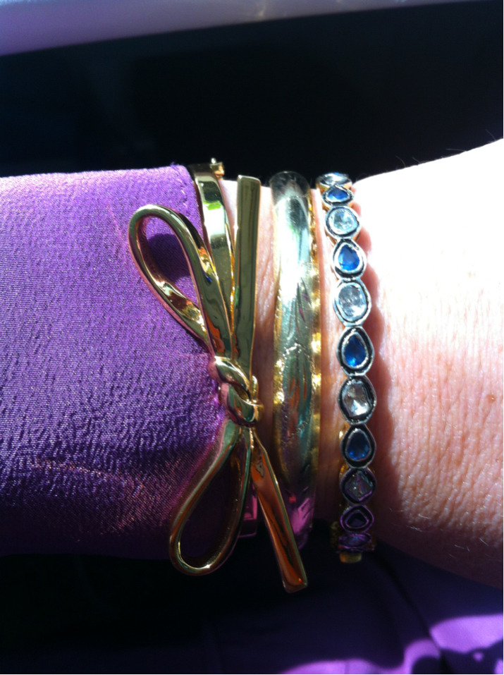 It's official - I'm loving this combination of bangles that I'm now wearing almost everyday. Bow bracelet from Kate Spade, solid gold vintage (stolen from my mom who comments on it when she sees me wearing) and diamond and sapphire from India. LOVE