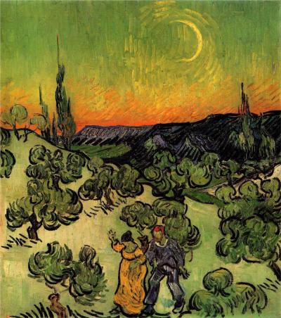 nannasofie:  Landscape with Couple Walking and Crescent Moon ~ Vincent van Gogh